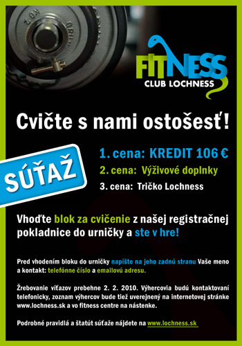 Fitness Club Lochness: SÚŤAŽ - Cvičte s nami ostošesť!